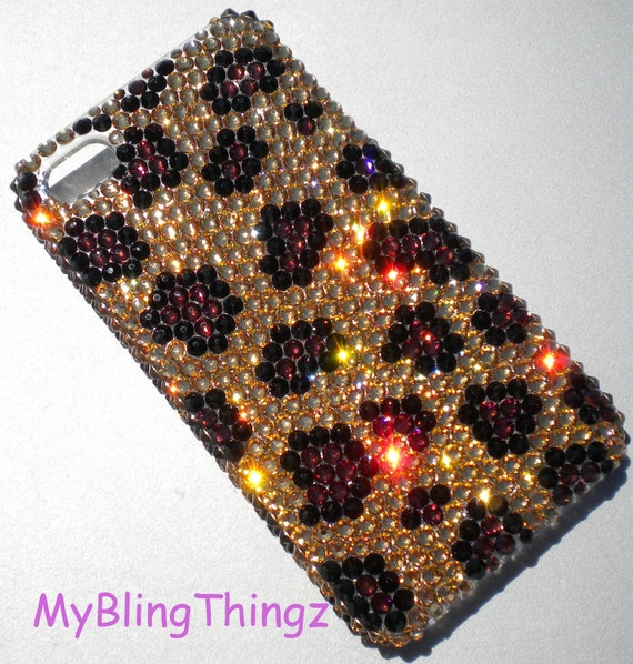 Gold Brown & Black Leopard Animal Print Design Crystal Rhinestone BLING Back Case for iPhone 4 4S handmade using 100% Swarovski Elements
