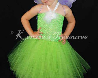 Tinkerbell Tutu Dress Costume - Includes Purple Wings - Size NB - 24 Months