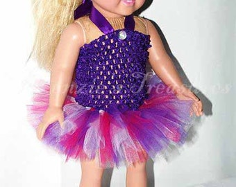 """2-Piece Pink and Purple Beauty Tutu Outfit for 18"""" and 15"""" Dolls - Fits American Girl Dolls and My Generation Dolls"""