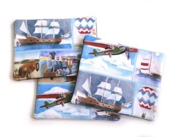 Coasters for Men, Men's Coaster Set, Transportation Coasters, Masculine Decor, Plane Train Ship Coasters, Father's Day Gift