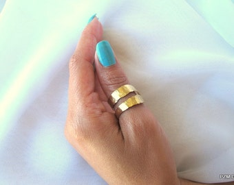Double band thumb ring, hammered gold brass ring, modern brass jewelry, Gift under 35