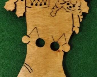 Wood Christmas Stocking Ornament
