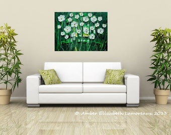 "Made to Order Large Original Impasto Painting Emerald Rain Blossoms 18"" x 24"" Amber Elizabeth Modern Art Palette Knife Heavy Texture Green"