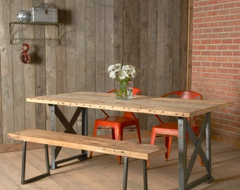 """Modern wood Bench with square steel legs (1.65"""" Standard Top, 84""""L x 11.5""""w x 18""""h)"""