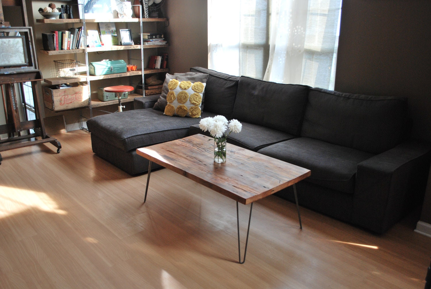 Wood Coffee Table With Mid Century Hairpin Legs By Urbanwoodgoods