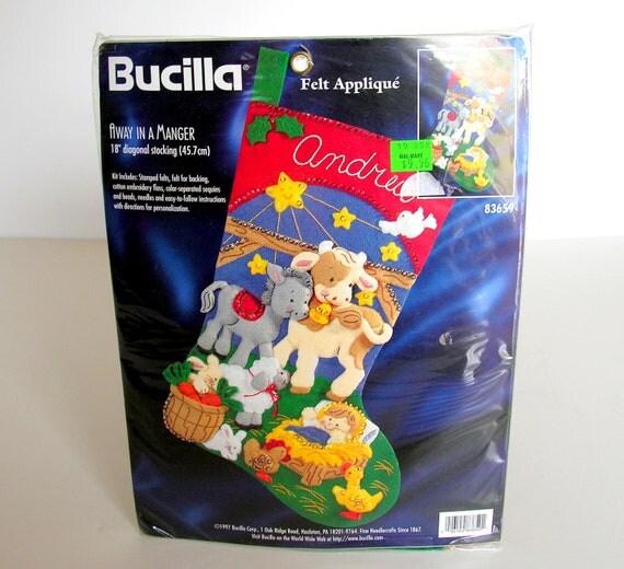 Bucilla Christmas Stocking Kit Away in a Manger Felt New Old Stock ...