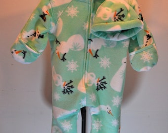 Baby Bunting with hat in mint green snowman print fleece coat outerwear