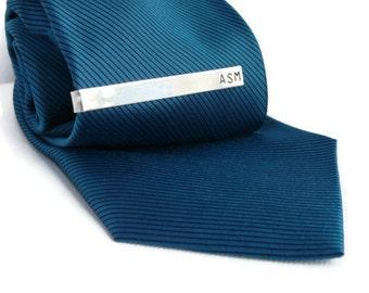 Sterling silver tie clip custom tie clip personalized tie clip skinny tie clip mens tie bar monogram tie bar groomsman gift