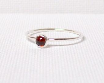 Silver garnet ring stacking ring Sterling Silver stacking gemstone ring stackable ring red silver ring marsala