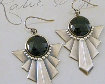Vintage Earrings - Art Deco Earrings - Black Onyx Earrings - Vintage Brass jewelry - Bohemian Earrings - handmade jewelry