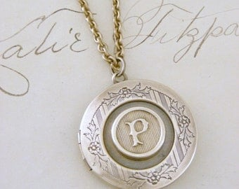 Locket Necklace - Initial P- Letter P - Vintage Brass Jewelry - Personalized Necklace - ALL LETTERS - handmade jewelry  Personalized Jewelry