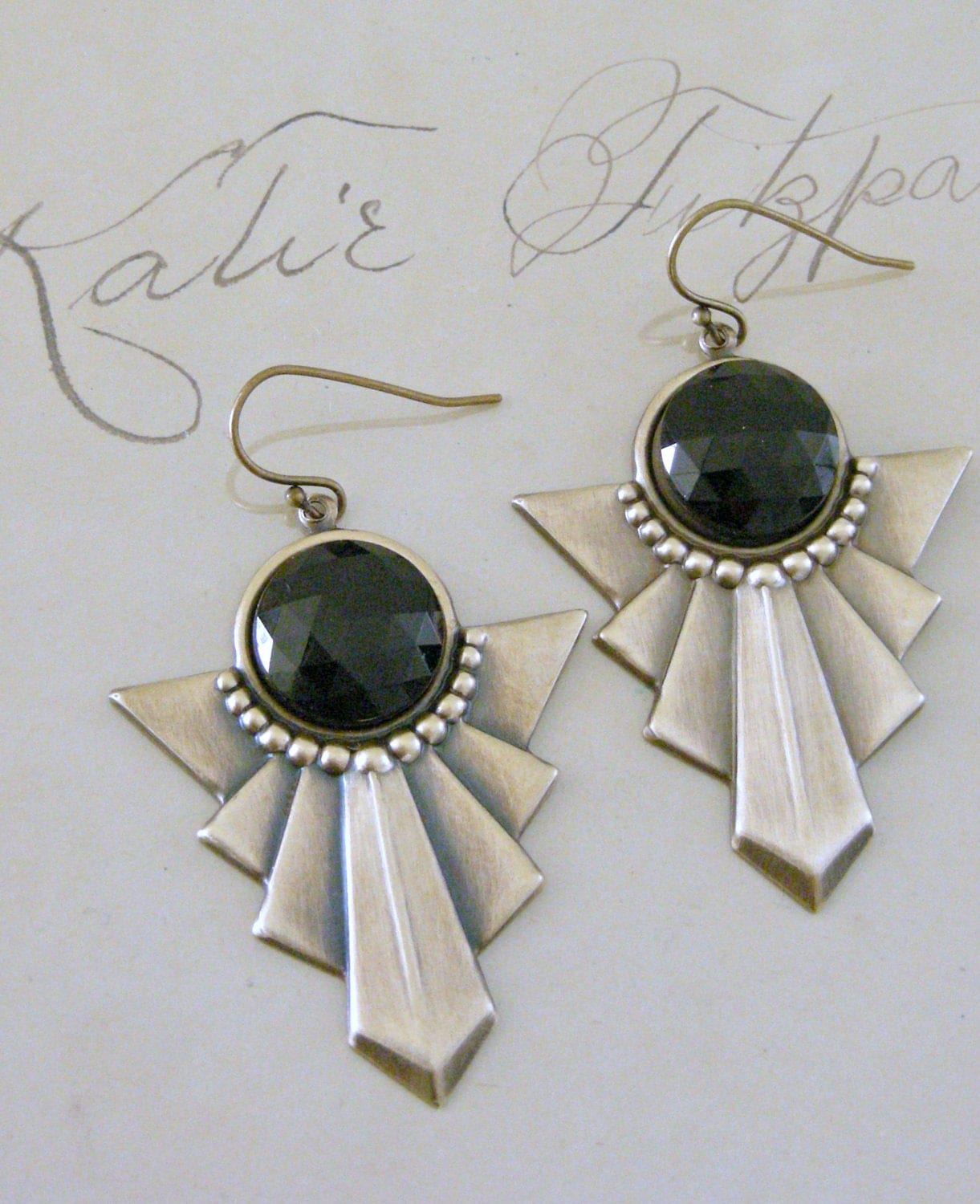 Vintage Earrings Art Deco Earrings Black Onyx Earrings