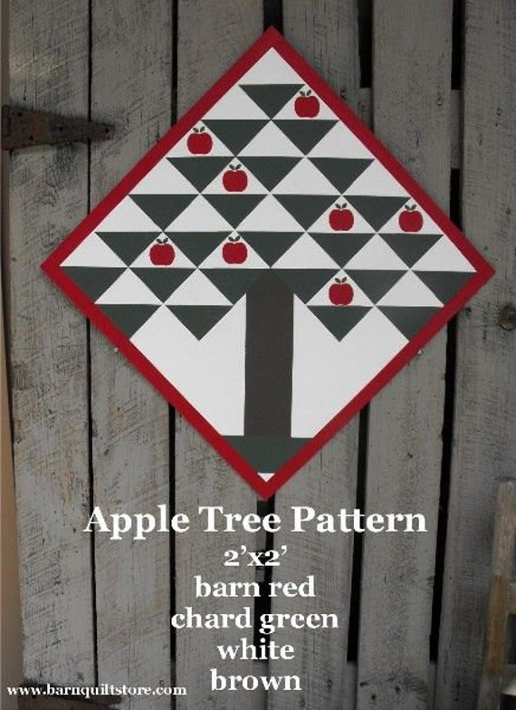 Items Similar To Painted Wood Barn Quilt Apple Tree