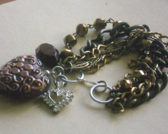 steampunk chain assemblage brown multistrand bracelet-mixed metal-eclectic jewelry-charm bracelet