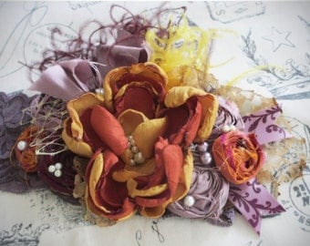 August Rush Couture Flower Headband, Fall Headband, Autumn Flower Headband, Vintage Headband, Vintage Hairpiece, Vintage, thanksgiving