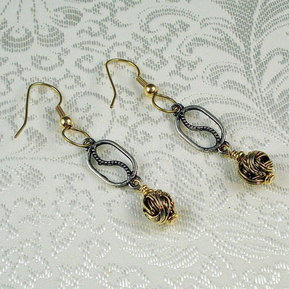 Antique Brass and Silver Earrings, Antique Silver and Gold Earrings, Antique Gold Earrings, Mixed Metal Earrings