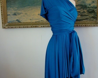 "Ready to Ship-Petite,  24"" length~ Seven Seas Ocean Blue- Last of Fabric-Octopus Convertible Short Wrap Dress"