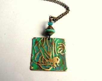 Dragonfly Necklace,Embossed Metal Necklace,Dragonfly Jewelry