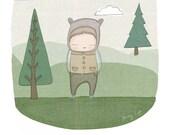 Baby Boy Nursery Art  Mr Tiggles The Bear in Forest