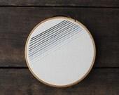 Embroidery Hoop Art - Black Ombre - Minimalist Gradient Stripes