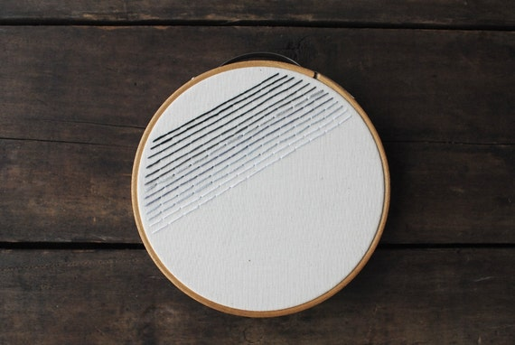 Embroidery Hoop Art - Black Ombre - Minimalist Gradient Stripes