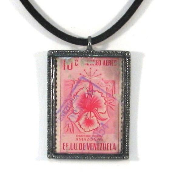 Vintage 1954 Venezuela Postage Stamp Necklace