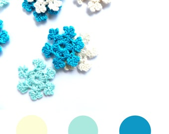Christmas ornaments - crochet snowflakes decorations - small gift wrapping applique - Christmas decorations - set of 9 ~1.6 inches