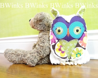 Stuffed Owl Pillow Friend - Plush Handmade BWinks Owl Pillow Toy - LIMITED II