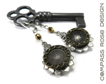 Antique Button Earrings Gold & Pewter Star Victorian Button Earring