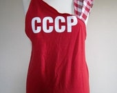 Punk T Shirt One Shouldered Ladies Soviet Union Upcycled Red CCCP  - Size Medium