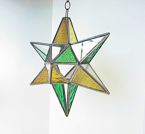 Vintage 3D Mexican Stain Glass Hanging Star