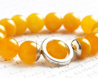 Yellow Agate Bracelet, Big Bold Bracelet, Sterling Silver Bracelet, Colorful Bracelet, OOAK Statement Bracelet, Artisan Stacking Bracelet