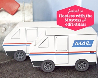 Mail Truck Favor Box : DIY Printable PDF - Instant Download