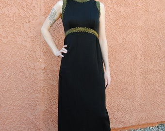 Vintage 1960's Long Black Dress with Gold Trim and Empire Waist