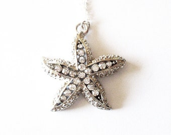 Rhinestone Starfish Necklace Silver Nautical Pendant Beach Charm Mermaid Bride Bridal Party Gifts Bridesmaids Beach Weddings Womens Gift