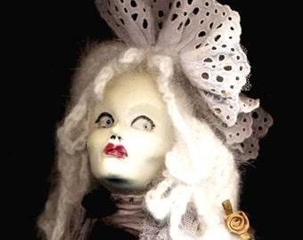 Carte Blanche Valentine Vixen doll...WiLLemeTTe...OOAK handmade kiln fired ceramic clay & kidskin art doll with haunting glass