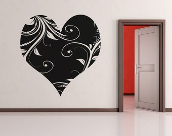Vinyl Wall Decal Sticker Heart with Vines OSAA362B
