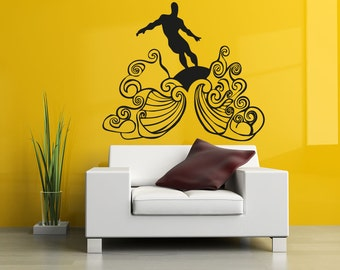 Vinyl Wall Decal Sticker Surfer on Waves OSAA1241B
