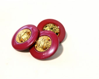 6 Magenta Gold Vintage Buttons - 1950s - 60s Plastic Buttons - New Old Stock Buttons - SIX Brass Pink Buttons