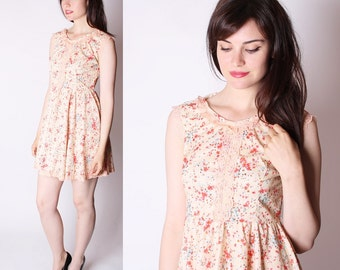 60s Short Dress/ Babydoll Dress /  Baby Doll Dress / Vintage 60s  Dress / Pretty Dresses / Vintage Dress / Cherry Blossom / 2309