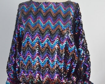 Vintage 70s GLAM Sequin BATWING DISCO Top Blouse Multicolor