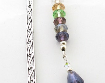 Multi Coloured Crystal Beaded Bookmark