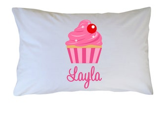 Cupcake Pillow Case Personalized Cupcake PillowCase Travel Standard Toddler Standard Size for Kids Baby and Adults