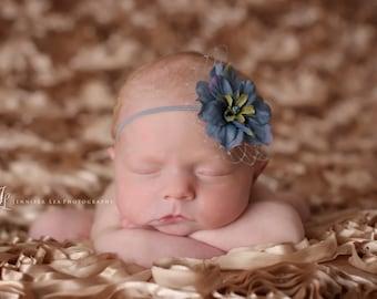 Baby Headband, Blue Flower Headband, Small Flower Headband, netting