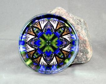 Butterfly Glass Paperweight Boho Chic Mandala New Age Sacred Geometry Hippie Kaleidoscope Mod Unique Boss Gift Teacher Gift  Aurora's Aria