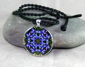 Mandala Pendant Necklace Blue Iris Chakra Boho Chic Sacred Geometry Kaleidoscope Hippie Bohemian Unique Gift For Her Cerulean Credence