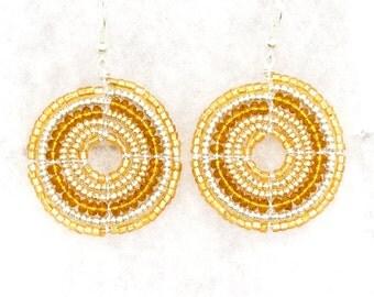 Maasai Beaded Earrings, Yellow and Silver (Medium)
