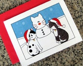 cute cats posing with snowcat holiday christmas cards (blank or custom printed insides) with red envelopes - set of 10