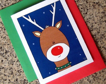 rudolph the red nosed reindeer gets his close up holiday christmas cards (blank/custom printed) with red or green envelopes - set of 10