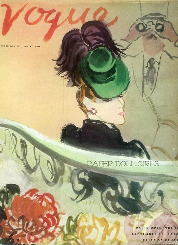 Vintage Vogue Original Magazine Cover 1938 Magazine